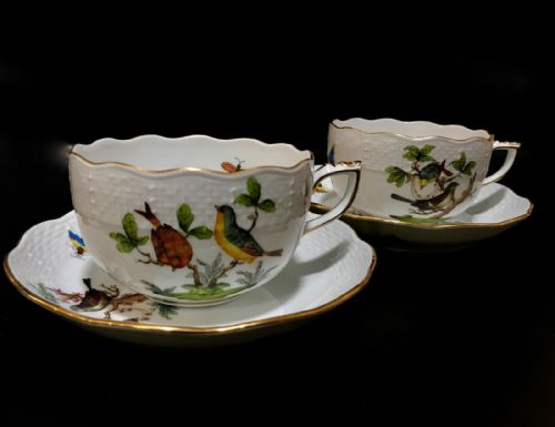 Herend Porcelain China Tea Cup And Saucer Pair / Rothschild Bird / Teacup